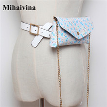 цены Mihaivina Casual Chain Leather Fanny Pack Waist Bag For Women Flower Walking Shopping Shoulder Bags Lady Belt Multi-function Bag