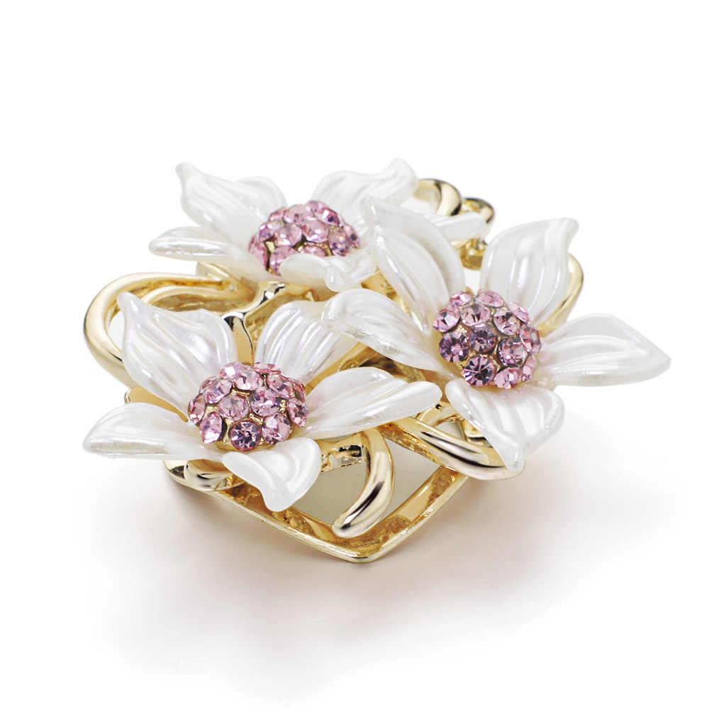 Dalaful Camellia Bunga Bros Pins Modern Pink Berlian Imitasi Menakjubkan Elegan Daun Bros Bridal Jewelry Wanita Gadis Z071
