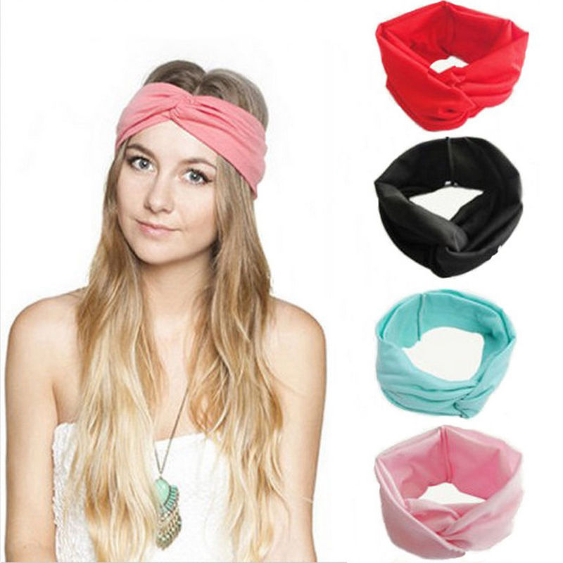 Women Solid Color Turban Twist Knotted Hairbands Head Bands Head Wrap  Headband Hair Bands Hair Accessories-in Women s Hair Accessories from  Apparel ... 475968f2b38