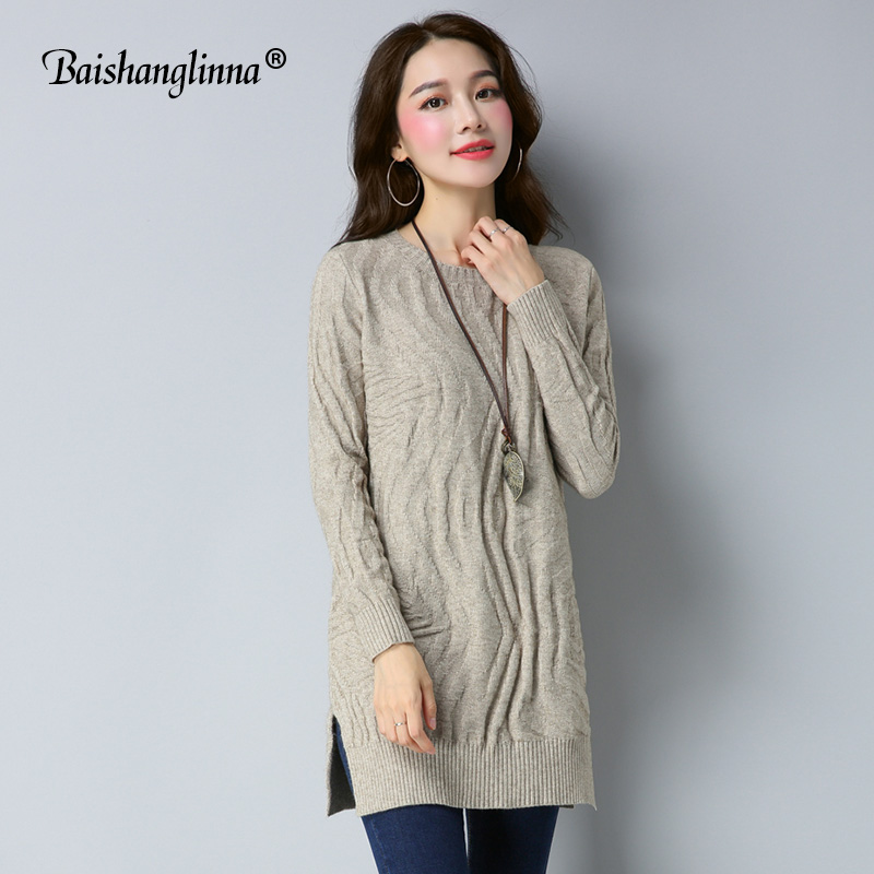 Baishanglinna 2017 Autumn Winter dress women dress wool knitted clothes cashmere sweater plus size O-neck dress casual outwear italian light high quality 2017 autumn winter new brand women s wear national knitted wool sweater dress plus size s xxl 4 color