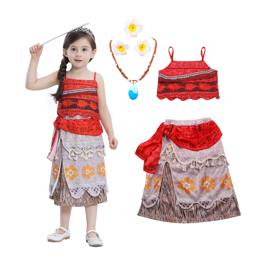 New Summer Moana Vaiana Dress with Necklace 2PCS Set for Girls Party Cosplay Costumes Childrens Fancy Dress Birthday Gift Dress