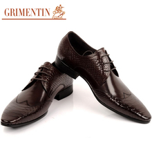GRIMENTIN Brand Italian mens dress shoes genuine leather black lace-up formal business office fashion male shoes men flats OX474