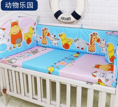 Promotion! 5PCS Baby Crib Bed Linen 100% Cotton Baby Bedding Set Baby Cot Girls Bedclothes ,include:(bumpers+sheet)