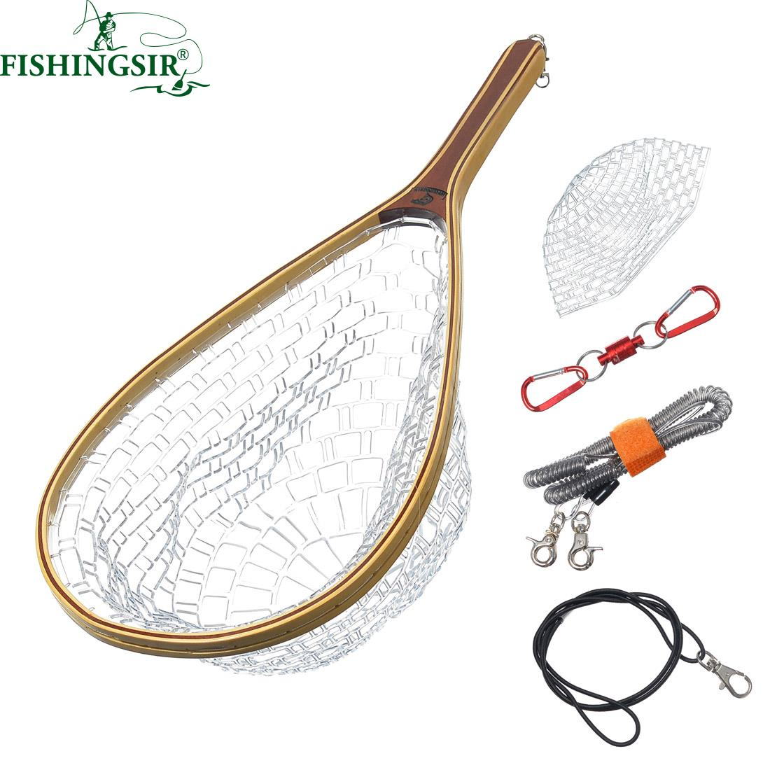 ФОТО Rubber Mesh Fishing Landing Net w  Safety Line Magnetic Release Holder Winter Ice Pesca Tackle Accessory