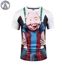 Mr 1991INC Brand 3D T shirt Funny Design Hip Hop T shirt Print Pig Head Camiseta