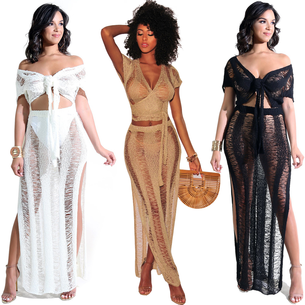 Sexy Women Two Piece Set Crop Bra Top Sheer Hollow out  knitting Split Skirt High Waist Vest Skirt Set Party Nightclub Outfit