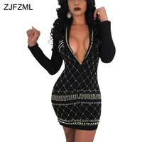 ZJFZML Beading Embellished Sexy Bandage Dress Women Deep V-neck Bronzing Evening Club Dress Elegant Long Sleeve Sheath Vestidos