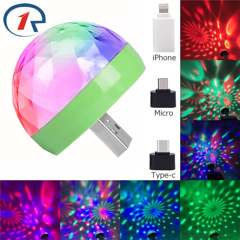 ZjRight Colorful Crystal Party LED Effect Light DC 5V By IPhone Samsung Android Ios Portable Disco KTV Holiday Home Effect Light