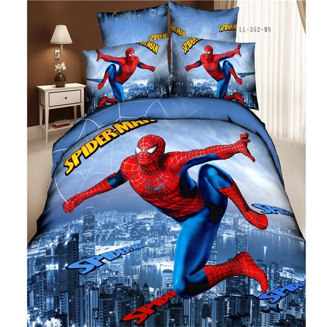 Hot 100 Cotton 3d Spiderman Duvet Cover Set Full Queen