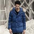 Los hombres Por la Chaqueta Con Capucha de Piel 2016 Rusia Europea Largo abrigos Caliente de Espesor Pato Blanco Abajo Chaqueta Hombres Parka abrigo masculino