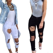 2018 Fashion Sexy Women s Destroyed Distressed Denim Pants Ripped Jeans Skinny Pencil Trouser ZT1 Z2