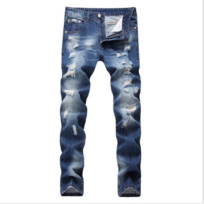 28-42 2019 New Mens Hip-hop Hole Jeans Hair Stylist Straight Slim Wear European And American Trend Men Fashion Trousers Making Things Convenient For Customers Men's Clothing