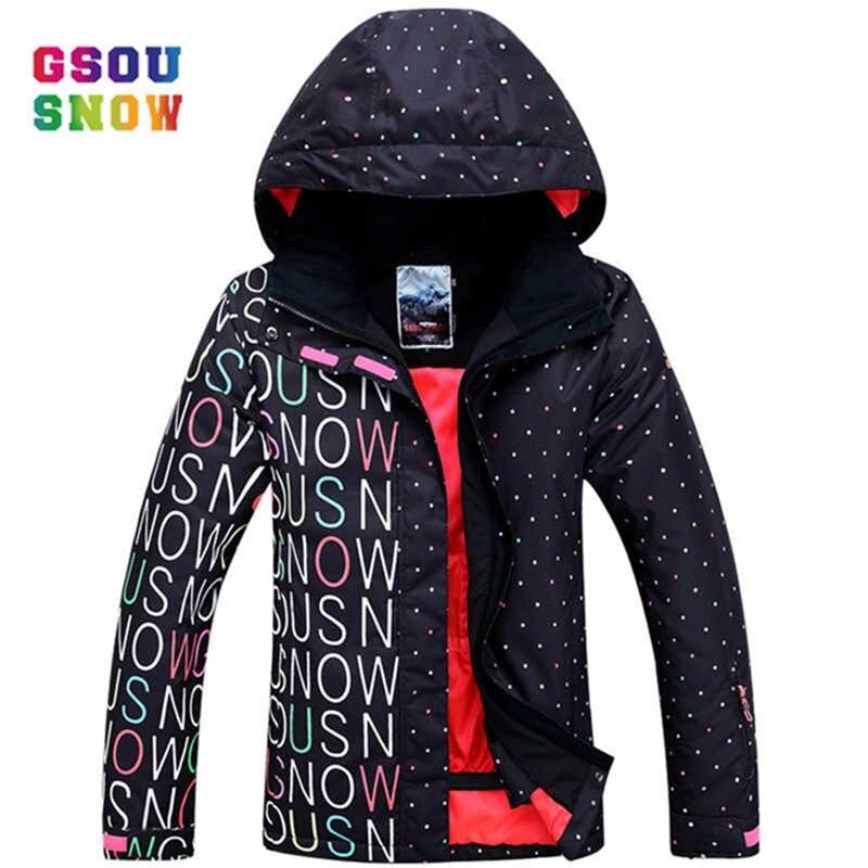 все цены на GSOU SNOW Ski Jacket Women Outdoor Professional Snowboard Coats Waterproof Fashion Windproof -30 Degree Female Ski Jackets онлайн