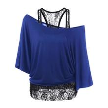 2019 Women's Clothing T Shirts Summer 2pcs Sets Loose Vest Lace Stitching Inclined Shoulder Bat Sleeve T-shirt Ladies Tops 5XL цена 2017