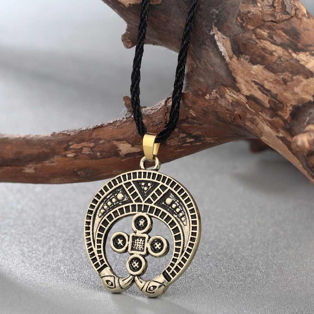 QIMING moda słowiański urok naszyjnik mężczyźni лунница srebrna biżuteria kobiety pogańskie wisiorek Amulet antyczne srebro wisiorek Collier