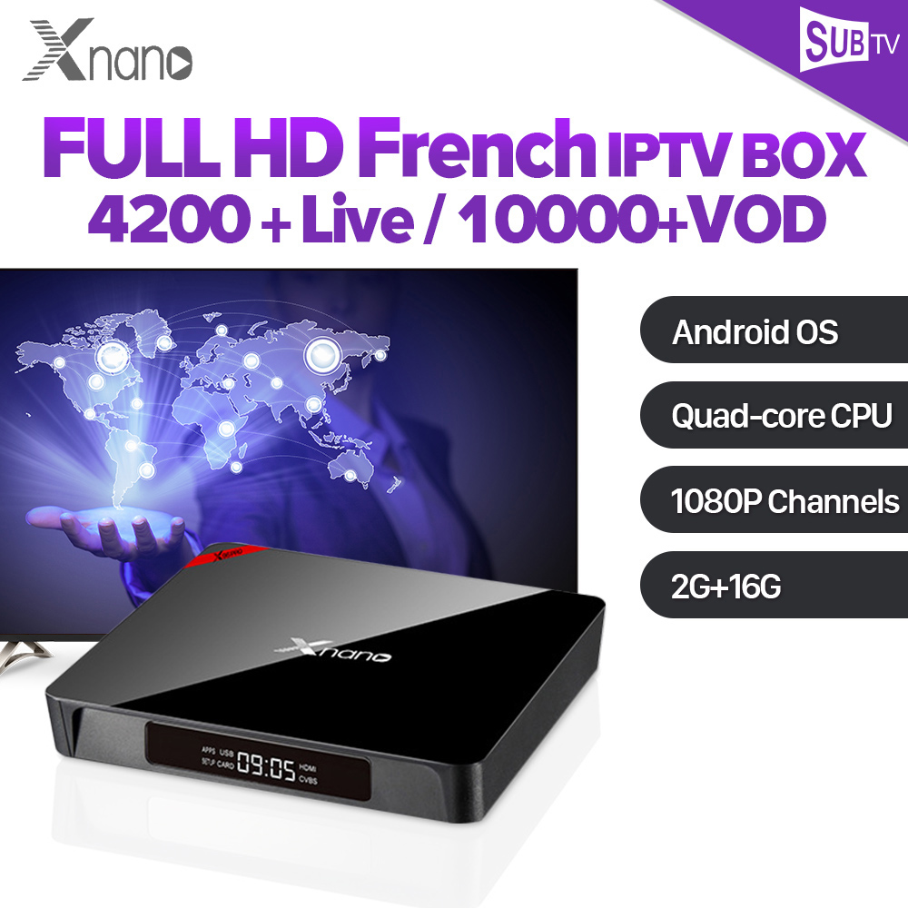 IP TV arabe SUBTV IPTV abonnement S905X Android TV Full HD en direct Android Box Tv 4 K Xnano turquie Portugal albanie Code IPTV