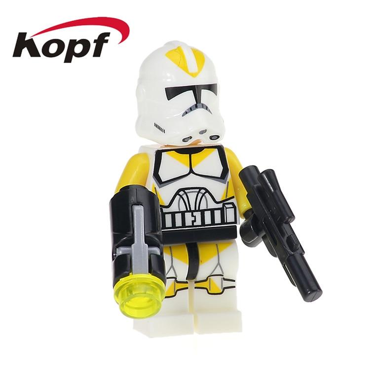 20Pcs XH 627 Building Blocks Yellow Utapau Clone Trooper Commander Gree Star Wars Bricks Set Model Toys for children Gift X0162