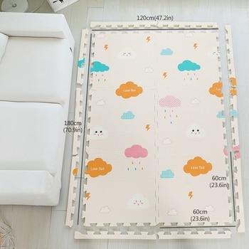 Schaumspielmatten | Infant Glänzende Baby Matte XPE Schaum Kind Spielen Matte 180*120*2 CM (71*47 * 0.8in) 6 PCS Fußmatten Schaum 0-8Y Wasserdicht Wohnzimmer