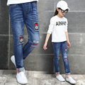 2017 spring and autumn fashion classic children's jeans girls in the big children Tongka Bukutong mouse letters wild child pants
