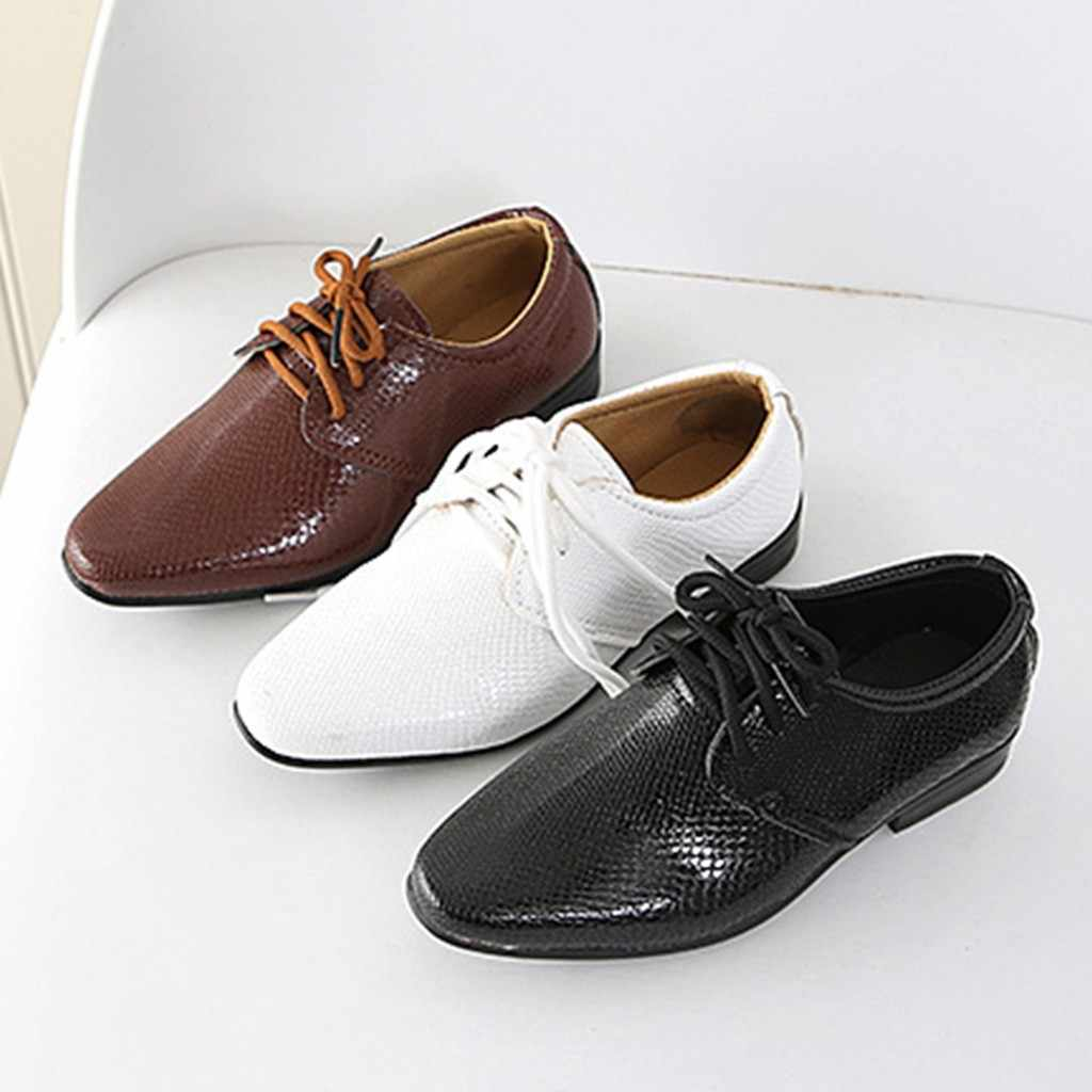 2019 New Kids Genuine Leather Wedding Dress Shoes for Boys Brand Children Black Wedding Shoes Boys Formal Wedge Sneakers 21-36