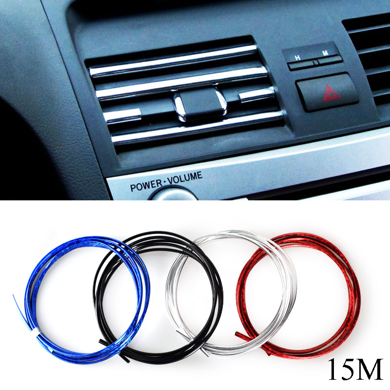 DIY U Style 15MX6MM Car-Styling Auto Air Conditioning Outlet Blade Interior Decoration Strip Grille Chrome Car Styling Tuyeres