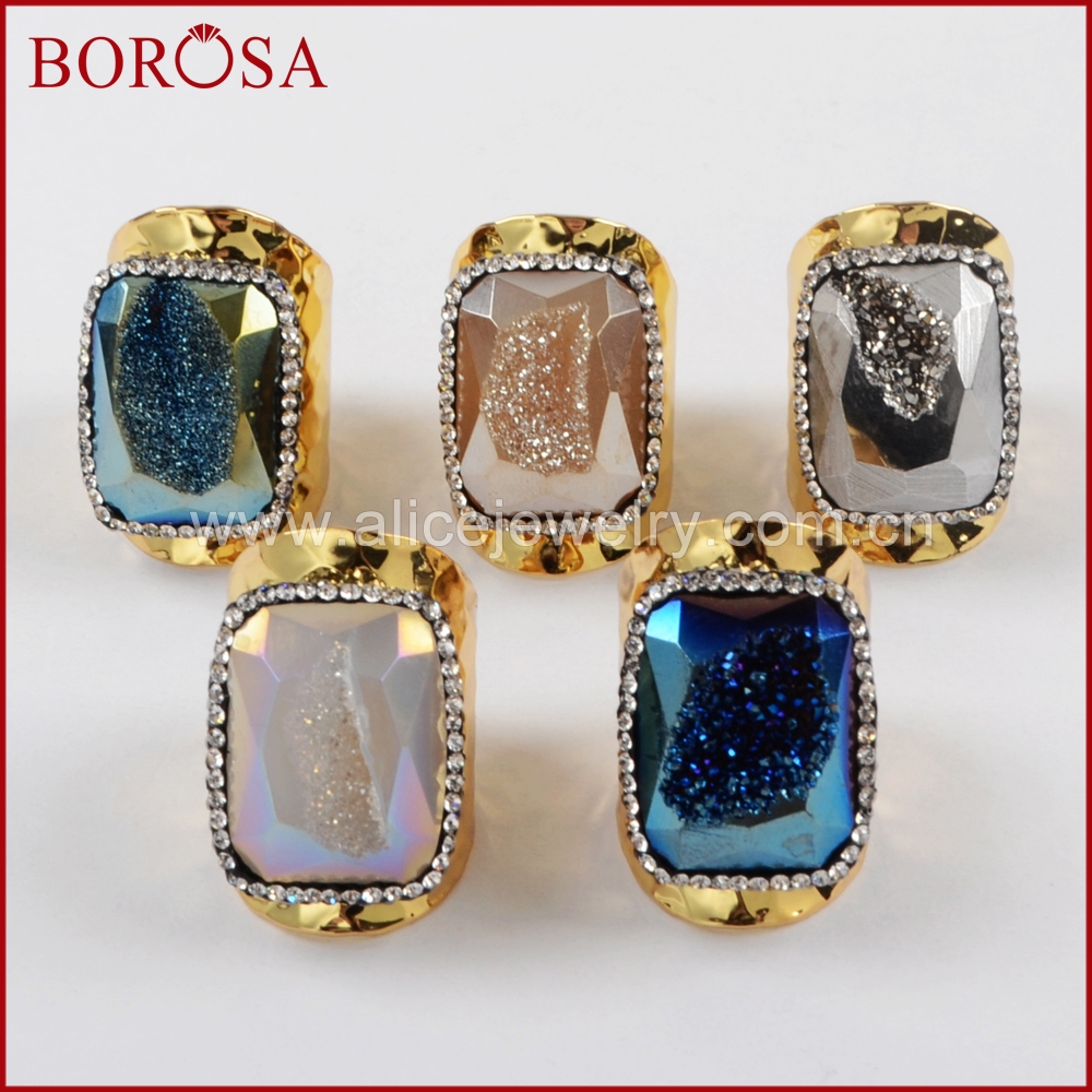 BOROSA New Rectangle Natural Druzy Geode Rainbow Drusy Gold Band Ring Crystal Rhinestone Pave Fashion Gems