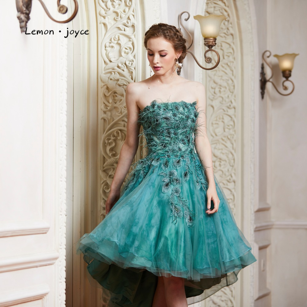 54b9ca62ea9ab US $136.5 35% OFF|Lemon joyce Green Prom Dresses 2019 New Style Elegant  Strapless Feathers High Low Evening Dress Party Gown Plus Size-in Prom  Dresses ...