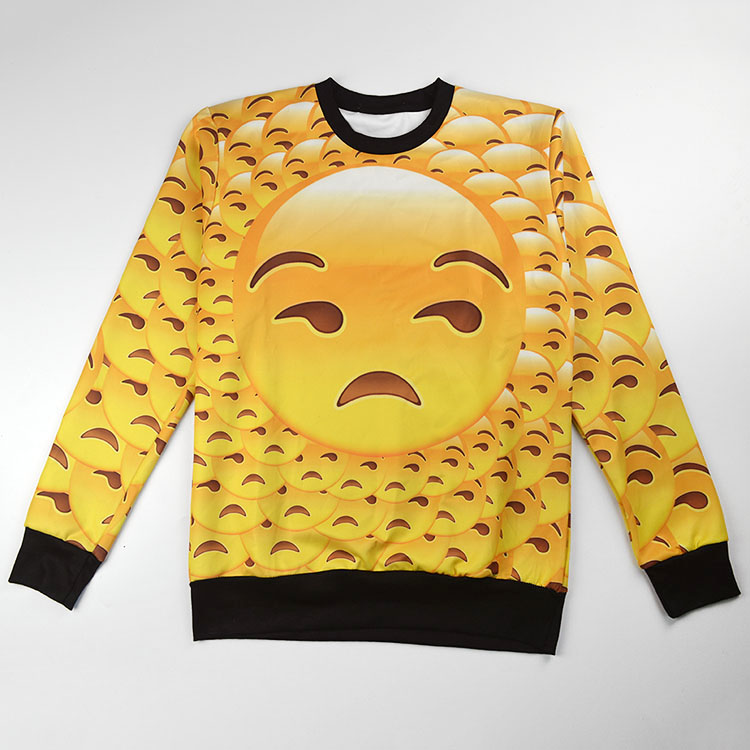 Big Emoji patchwork print hoody,cute style you should own!