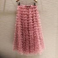 High quality 100% silk lining Mesh Skirts 2018 Spring summer runway pleated skirt D301