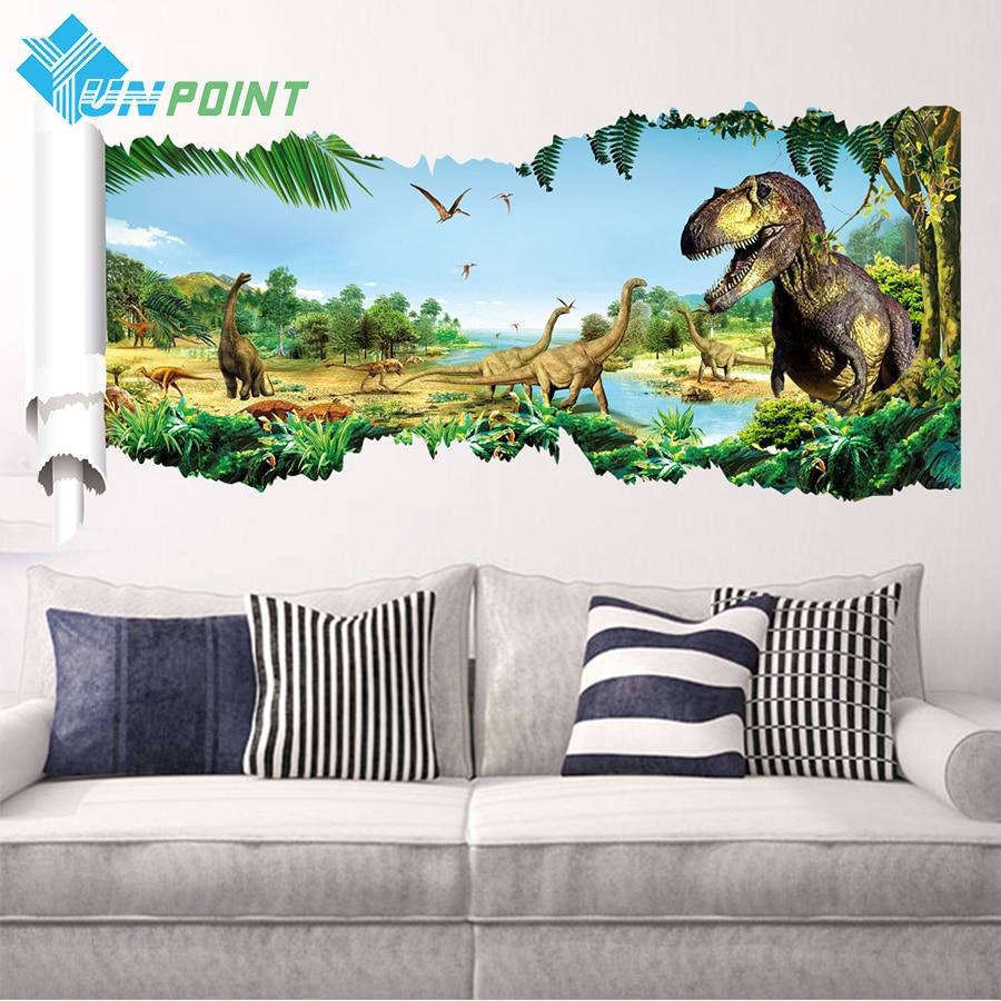 3D Through <font><b>Wall</b></font> <font><b>Stickers</b></font> <font><b>Dinosaur</b></font> <font><b>Decals</b></font> Art for kids room living room Jurassic Park America <font><b>Style</b></font> WallPaper Cartoon Poster <font><b>PVC</b></font>