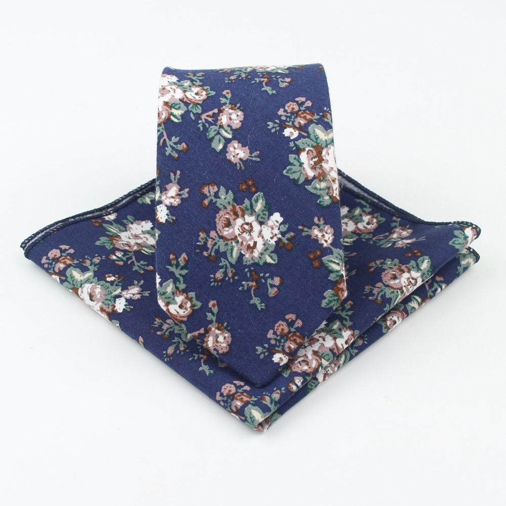 Rose Narrow Tie Hankerchief Set 100% Cotton Textile Ties Pocket Square Printing Floral Flower Paisley Necktie Classic Skinny Tie