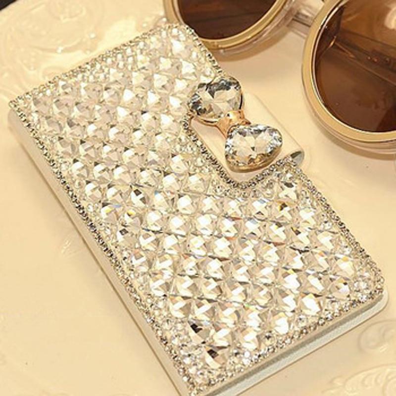 Drahokamu kožené pouzdro luk Bling křišťál diamant kryt coque flip stojan základny pro Samsung Galaxy Note 5 4 3 S4 S5 S3 S6 Edge