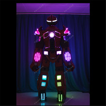 1LED robot dance costumes wearable ballroom robot clothes men stage wears led helmet full color RGB light suit led Programmable
