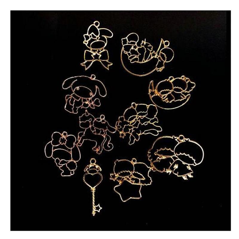 10pcs Little Stars Unicorn Metal Frame Kawaii Jewellery Pendant Accessories DIY Handmade Resin Craft Open Bezels Charms Art