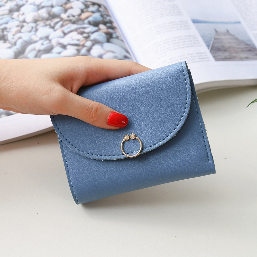 Women's Short Women Wallet Button Decoration Mini Wallet Small Folding Pu Leather Female Coin Purse Card Package Ring 303