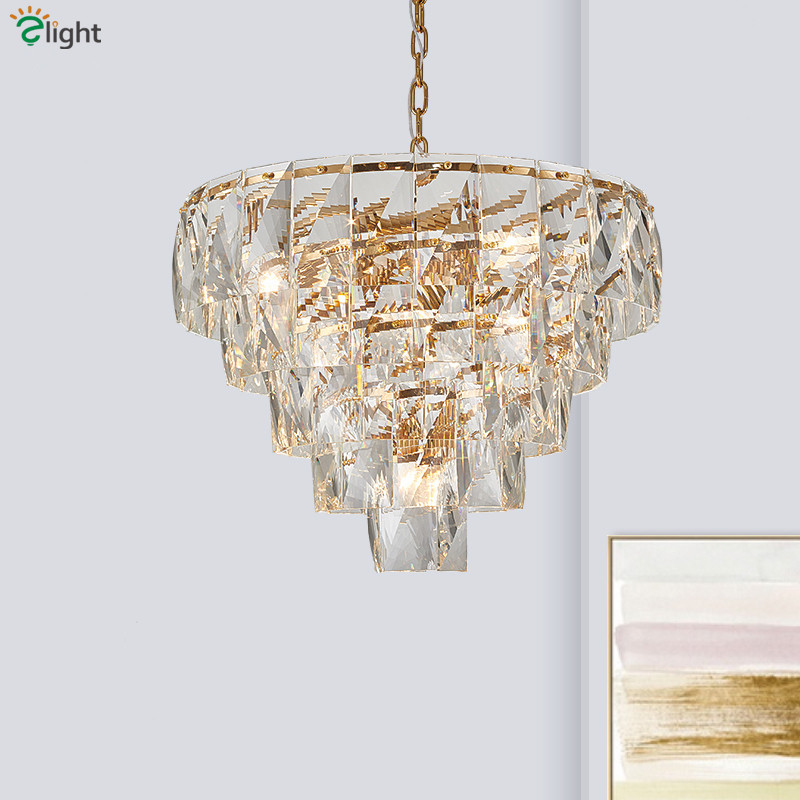 Luxury Modern Lustre Clear K9 Crystal E14 Led Pendant Lights Gold Metal Hanging Lamp Fixtures Chain Hanging Led Pendant Lamp
