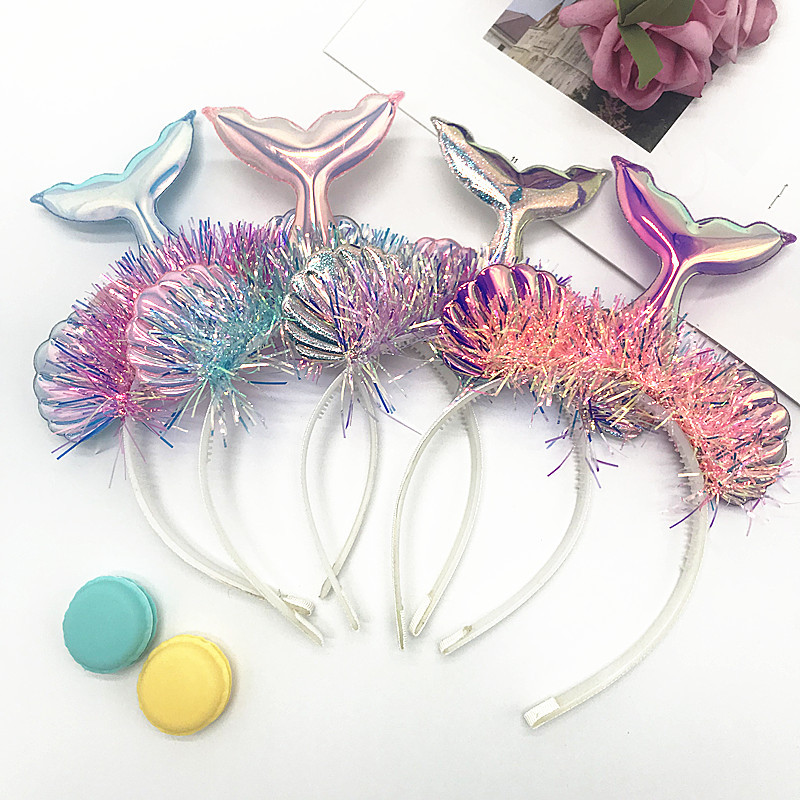 Sequin Headband Hair-Accessories Unicorn Mermaid Cat Ears Floral Party Baby Kids Cute