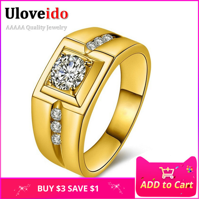 Uloveido Gold Color Wedding Male Rings for Men Jewelry Crystal Ring Men Aneis An