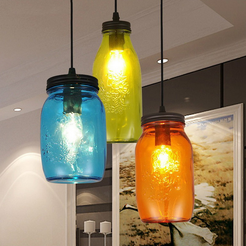 Simple Modern Home Colorful Bottle Restaurant Pendant Light Bar Light Coffee Shop Decoration Light Bed Room Light Free Shipping modern home decoration a b c d led dining room smoky gray glass pendent light coffee shop light bar lights free shipping