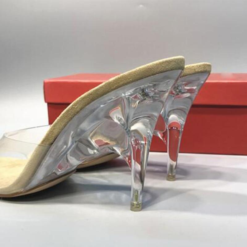 Talons 11 Chaussures Femmes Heel Dames Gelée Prix Haute Étrange Diapositives Pvc Cristal Réduits Peep Pour Heel Toe Transparent Pantoufles À Sandales 8cm Sexy Cm Été TqRvzx