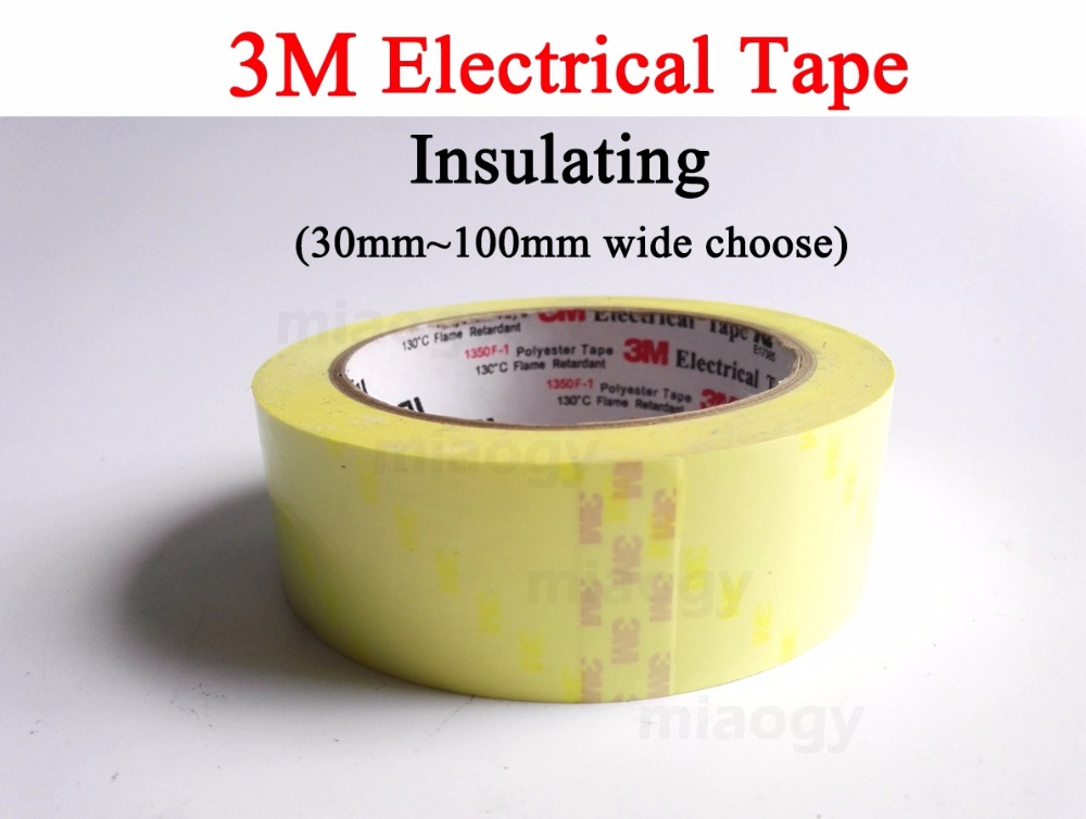 3M Electrical Insulating Polyester Film Tape , Flame Resist, 30mm~100mm width choose, 66 meters/roll 110mm 33 meters 0 08mm single side heat resist sticky pet polyester film tape for protection