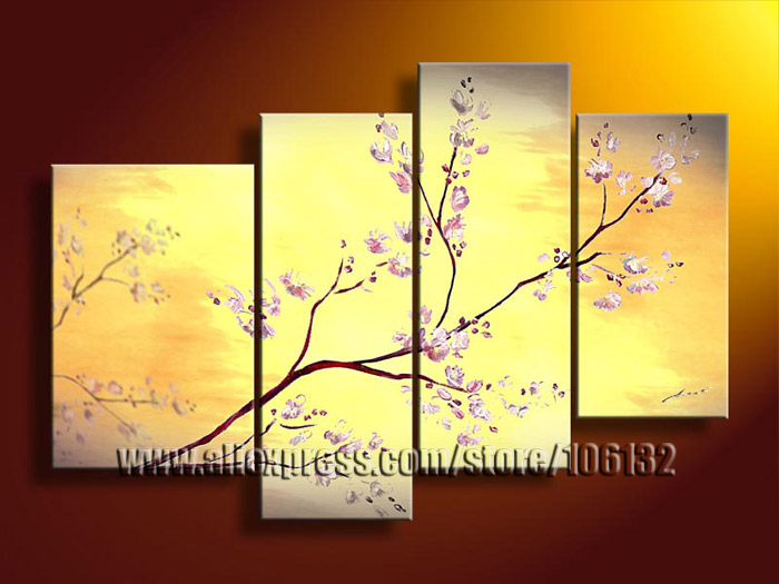 Framed 4 Panel Large Cherry Blossom Oil Painting Flower Orange Wall ...