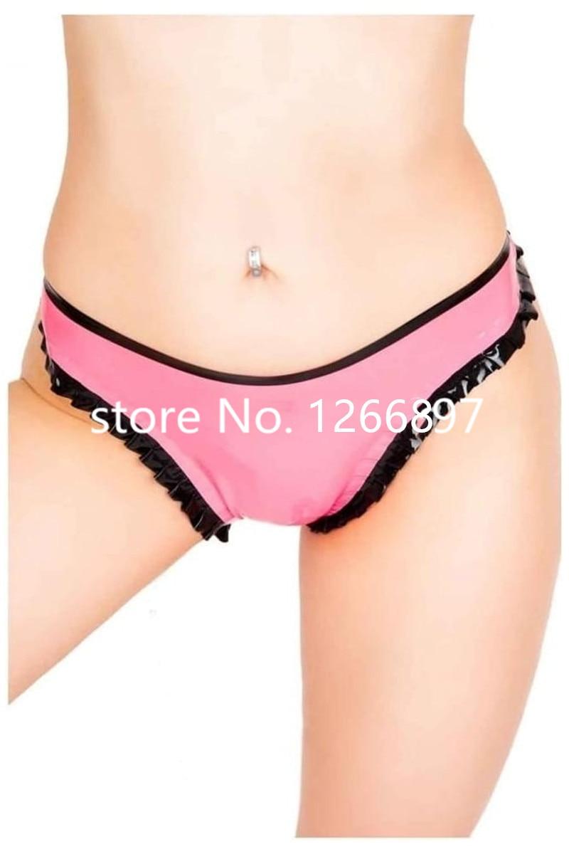 Livraison gratuite rose fait à la main avec lanière en caoutchouc Latex noir avec volants femmes Sexy slips en Latex Shorts faits à la main Lingerie