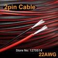 40 m/lote, 2 pin cable rojo negro, cobre estañado cable 22awg, UL2468 #22AWG cable PVC cable aislado, alambre eléctrico, cable LED