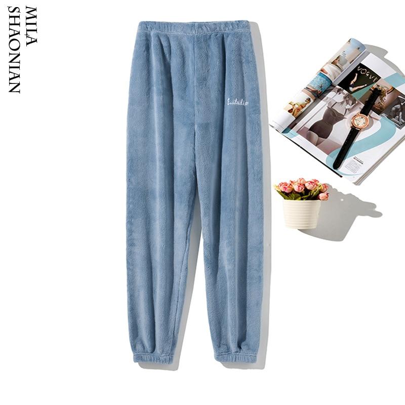 Autumn Winter Flannel Pajama Women Warm Soft Solid Elastic Pants Plush Lounge Sleep Pant Pink Women Full Length Pajamas Bottoms