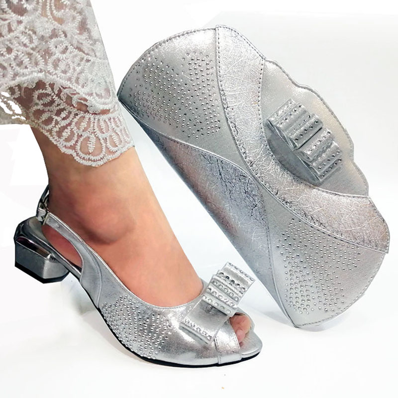 New Silver Color Comfortable Platform Ladies Shoes and Bag set shining stones big pumps Women Shoes and Bag Set for Party
