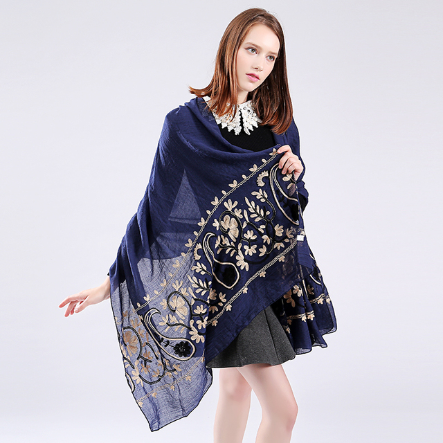 19425556b993f Marte&Joven Newest Womens Floral Embroidery Big Size Cotton Pashmina Shawl  Ladies Fashionable Blue Long Winter Scarf