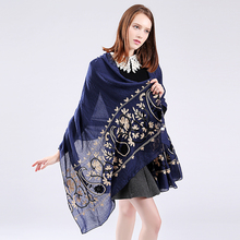 Marte&Joven Newest Womens Floral Embroidery Big Size Cotton Pashmina Shawl Ladies Fashionable Blue Long Winter Scarf Wrap Sale