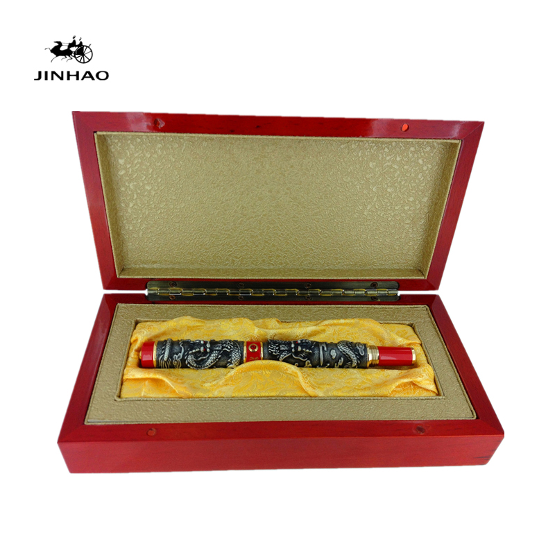 Jinhao Luxury Two Dragon Play Pearl Fountain Pen with Original Box for Gift Free Shipping jinhao jh 029 acrylic fountain pen translucent light blue