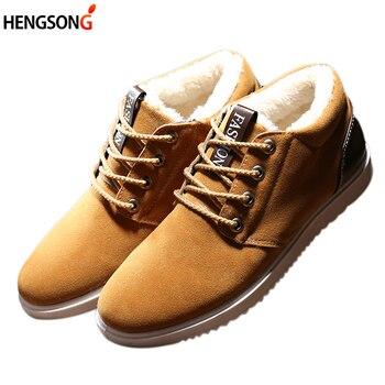Jesień mężczyźni buty w stylu casual Plus wełna zimowe ciepłe buty męskie polary buty Lace Up antypoślizgowe mieszkania buty męskie tenisówki